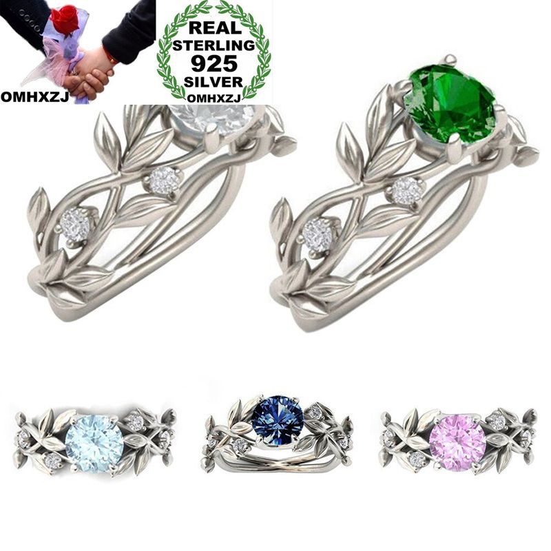 OMHXZJ Wholesale European Fashion Woman Man Party Wedding Gift Various Color Leaves AAA Zircon 925 Sterling Silver Ring RR36