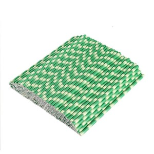 Image 5 - 25pcs/lot Green Bamboo Paper Straws Happy Birthday Wedding Decorative Event Tropical Party Supplies Drinking Straw