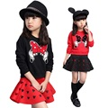 2016 Fashion  Autumn Girls Clothing Sets Long sleeves Cotton t Shirt + Skirt 2pcs Baby Girl Kids Clothes Children Clothing Set