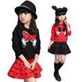2016 Moda Outono Meninas Conjuntos de Roupas de mangas Compridas de Algodão t camisa + Saia 2 pcs Bebê Menina Roupa Dos Miúdos Crianças Roupas conjunto
