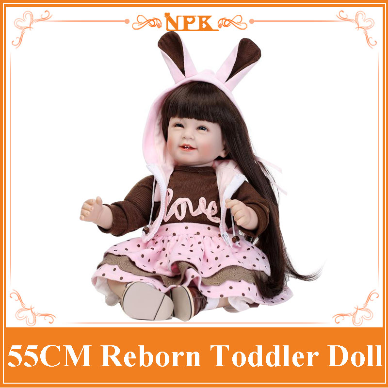 NPK About 55cm Real Touch Babies For Kids Educational Doll 22inch Silicone Reborn Baby Dolls With Soft Handmade Dress nina stefanovich tale about littleworm book for kids