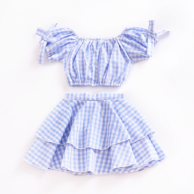 Hot Sale Casual Baby Girl Summer Dress Set Plaid Off Shoulder Clothing Suits Kids Crop Top +Skirt Outfits Clothes Blue Set