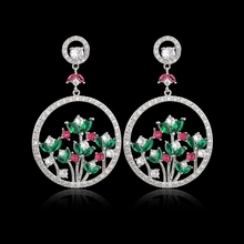 Fashion Luxury Silver Color CZ Zircon Crystal Earrings Colorful Big Flower Dangle for Women Wedding Jewelry