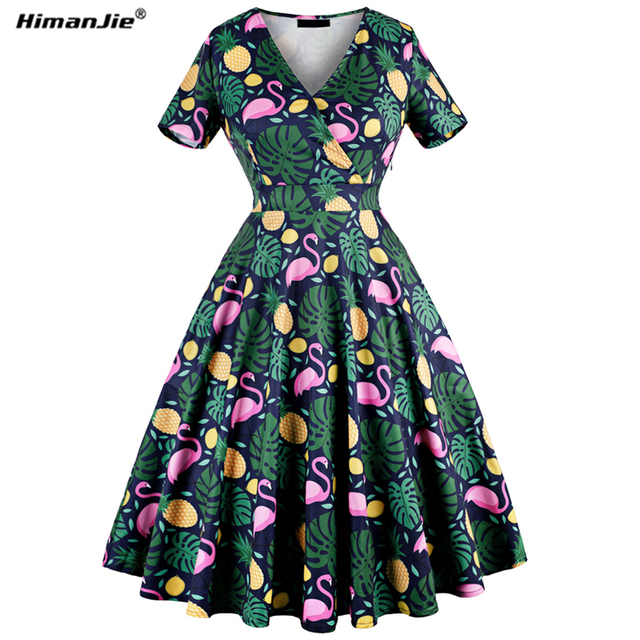 a2238ccd9a3 Himanjie 2018 sring Dress Casual Dresses for Women Ladies flamingo pineapple  print Short Sleeve V Neck slim waist autumn dresses