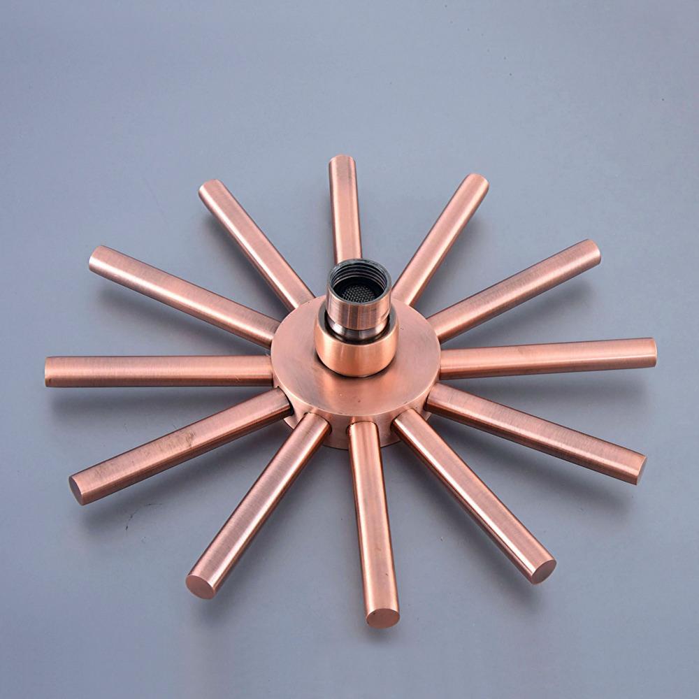 Antique Red Copper Star Shape 8 inch Rain Shower Head Water Saving Top Spray Rainfall Shower Heads Bsh260