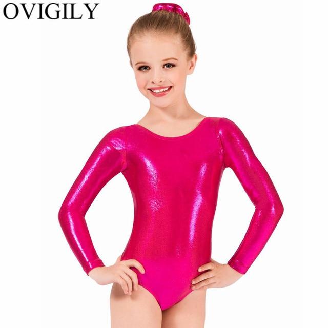 efe0098429b3 OVIGILY Girls Shiny Metallic Long Sleeve Leotards Gymnastics Ballet Leotard  Kids Spandex One Piece Leotards Dancewear