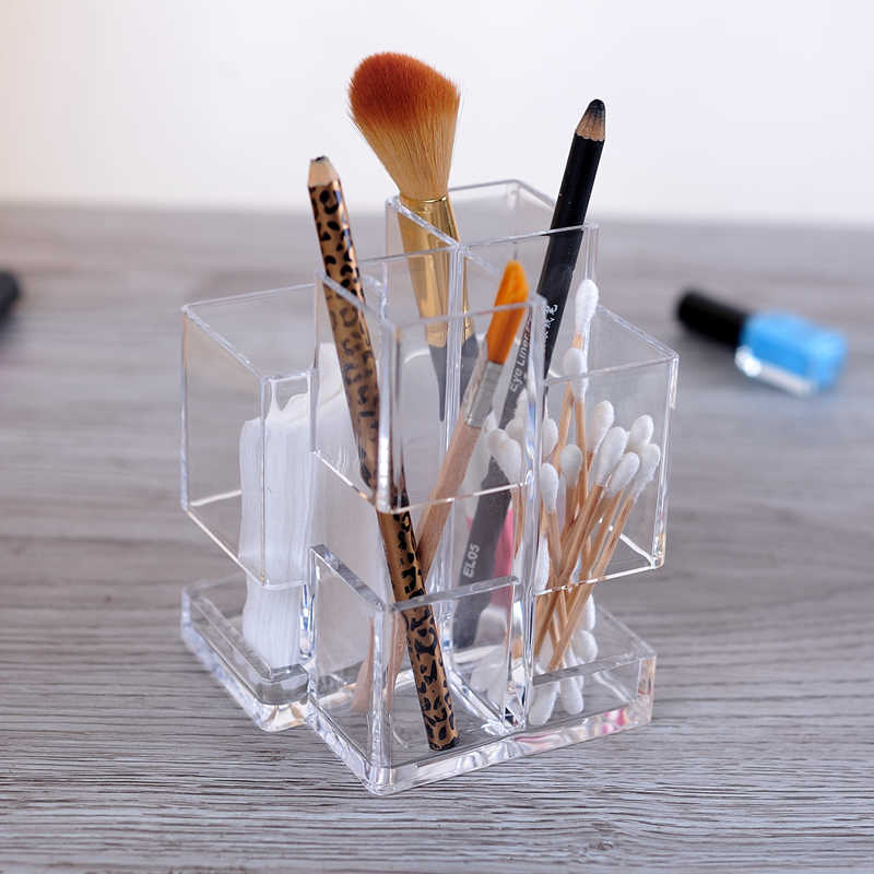 Crystal Acrylic Pen Box Cosmetic Organizer Makeup Brush Holder Cosmetic Storage Display Box Stand Rack Pencil Holder For Girls