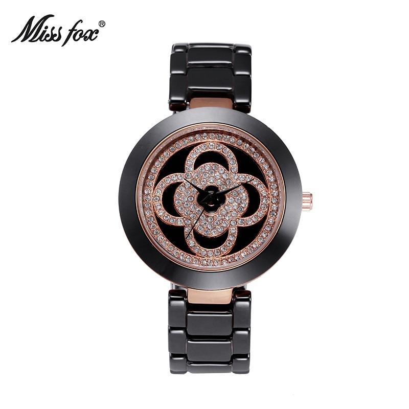ФОТО Miss Fox Brand Women White Black Ceramic Quartz  Watches Luxury High Quality Watch Fashion Casual Wristwatches Clocks