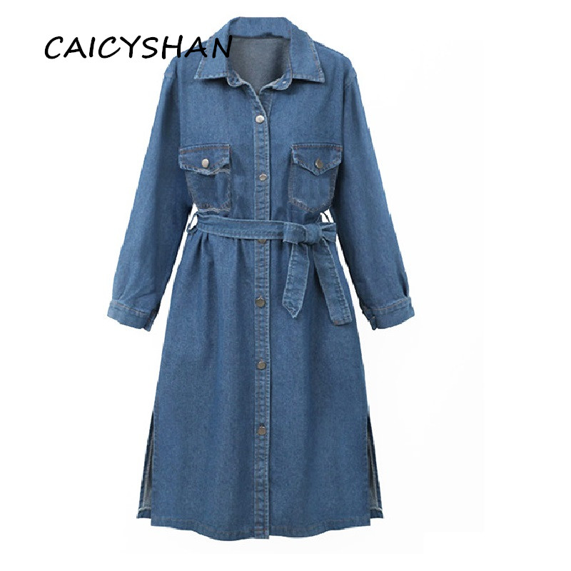 New Autumn Winter Women Coat Plus Size Casual Loose Solid Single Breasted Sashes Jeans   Trench   Coat For Women Denim Outerwear 4XL