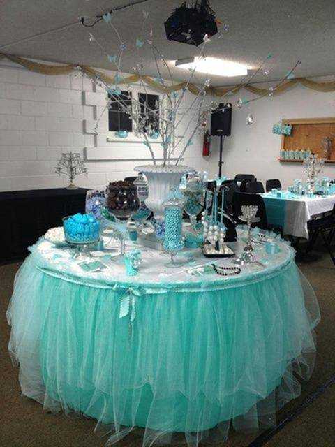 Online Shop Tiffany Blue Organza Tulle Tutu Table Skirt Roll Fabric