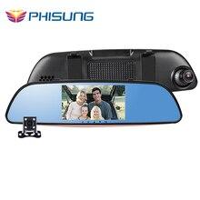 Phisung T25 Doble lente de la Cámara Espejo Retrovisor Del Coche DVR FHD 1080 P G-sensor de Detección de Movimiento de aparcamiento espejo de coche cámara grabadora de vídeo