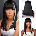 Long Straight Bob Black synthetic wig with White hair For Women Sassy Darg Queen Hair Wig natural hair heat resistant full wig