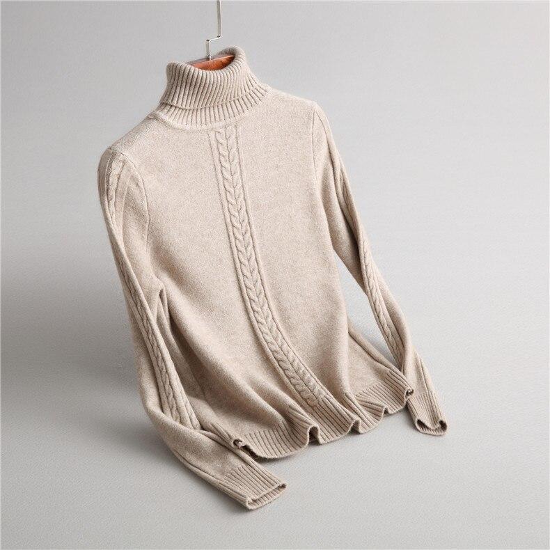 Sólido Tortuga marrón Suéteres Larga Calientes Beige Invierno De Mujeres Lana Las Cuello caqui negro Manga gris Suéter Punto Engrosamiento Para xT6fTwqP