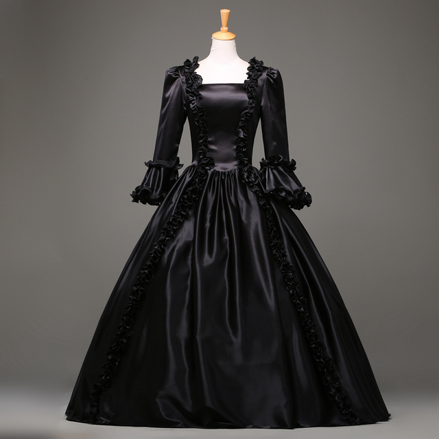 Free-Shipping Hot Sale Black Gothic Victorian Dress Period Renaissance Rococo Belle Prom Gowns Theatre Clothing Costume Dresses 1