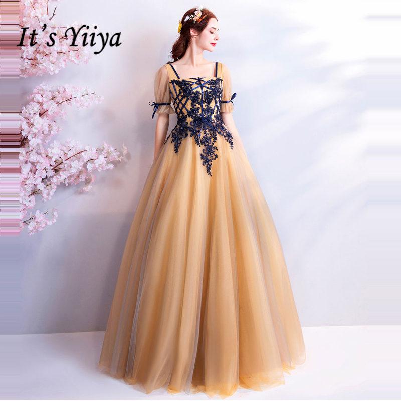 Это Yiiya вечерние платья 2019 Тюль Короткие Seleeves глубокий желтый A-ling в Пол Длина Плюс размер на заказ длинное строгое платье LX848