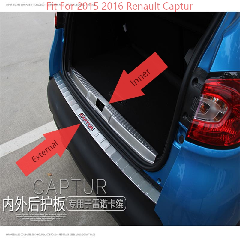For 2015 2016 Renault Captur Stainless Steel Rear Bumper Protector Trunk Guard Door Sill Scuff Plate Cover Trims Car Accessories abaiwai car inner door sill cover for renault koleos 2017 2018 stainless steel car styling accessories scuff plates guard trims