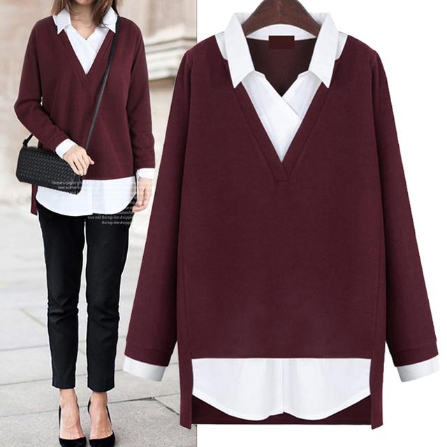 2016 novas Mulheres encabeça Falso two-piece Blusas mulheres camisa turn-down collar camisas de forma magro roupas plus size tamanho 5XL