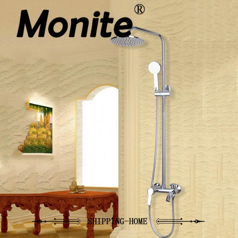 MONITE 8 Rain Shower Faucet Set with Hand Sprayer Chrome Brass Bathroom Shower Set Mixer Tap gappo classic chrome bathroom shower faucet bath faucet mixer tap with hand shower head set wall mounted g3260