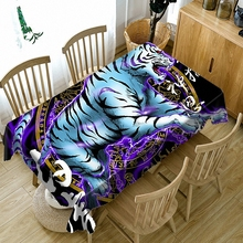 Customizable Tablecloth 3d Classical tiger Pattern Waterproof Cloth Thicken Rectangular and Round Table for Wedding