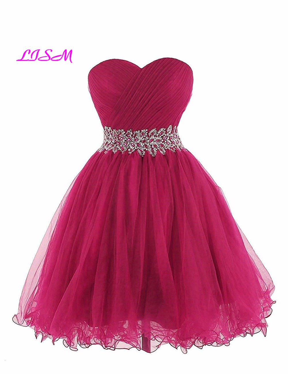 LISM 2018 New Arrival Sweetheart A Line Short Homecoming Party Gowns Ruffled Crystals Mini Cocktail Dresses