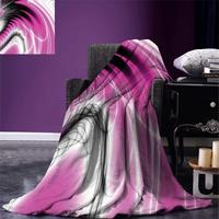 Fractal Throw Blanket Digital Dynamic Energy Flows Inspired Artisan Fantasy Shapes Computer Print Warm Microfiber