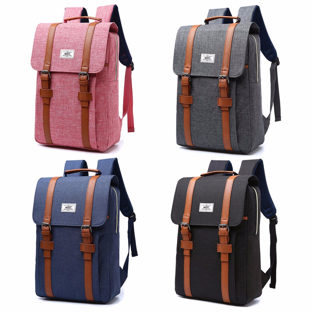 Men Canvas Backpack Women School Laptop Travel Rucksack Satchel Fashion College  Bag 15.6inch Laptop bag 4 Color-in Backpacks from Luggage   Bags on ... 32c996adb6a05