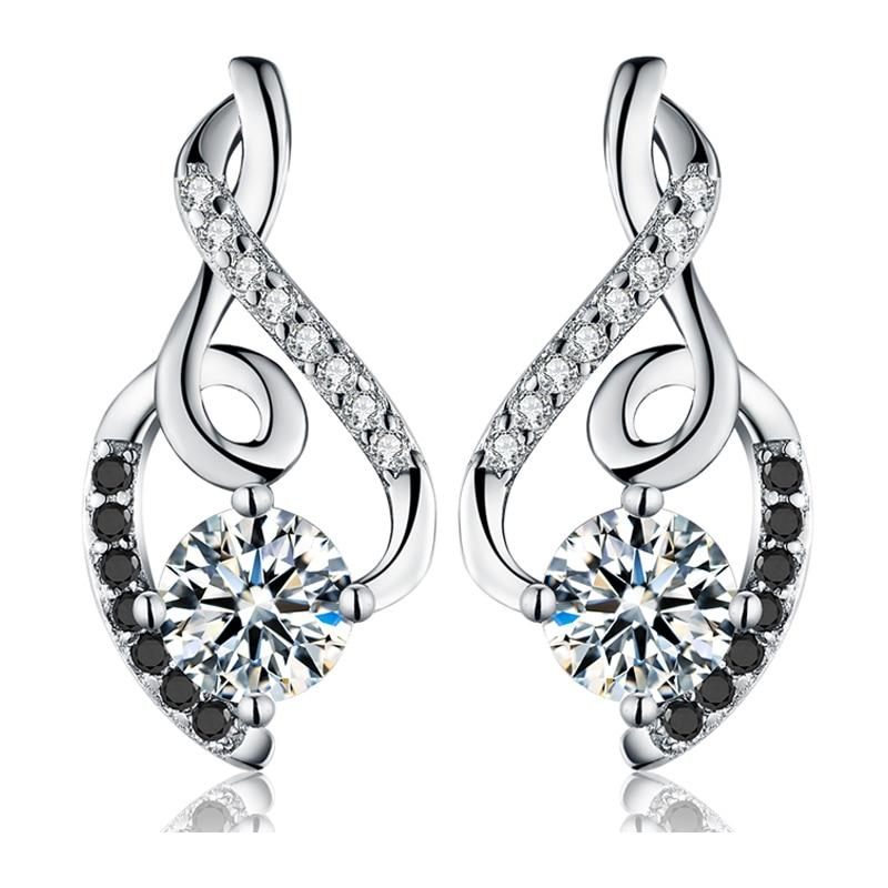 Classic 2.2g 100% Genuine 925 Sterling Silver Female Earring Fine Jewelry Vintage Wedding Stud Earrings for Women T006