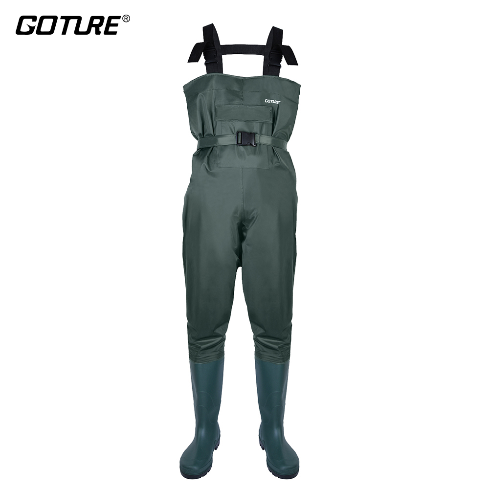 Goture Outdoor Fly Angeln Waders Bootfoot Wasserdichte Jagd Waders Angeln Insgesamt Stiefel Atmungs Brust Waders pesca image