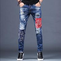 28 38 Autumn and winter tide embroidered jeans men's hole patch trousers self cultivation feet elastic patch pants singer jeans