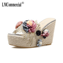 flower hemp rope Pearl transparent slope with thick bottom high heel slippers female summer fashion sexy sandals womens slippers цена