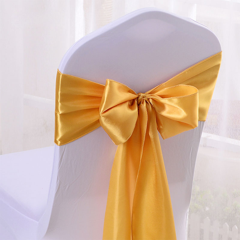 Wholesale 100PCS Satin Ribbon Chair Bands Wedding Satin Bow Tie Ribbon For Party Wedding Hotel Banquet Chair Decor
