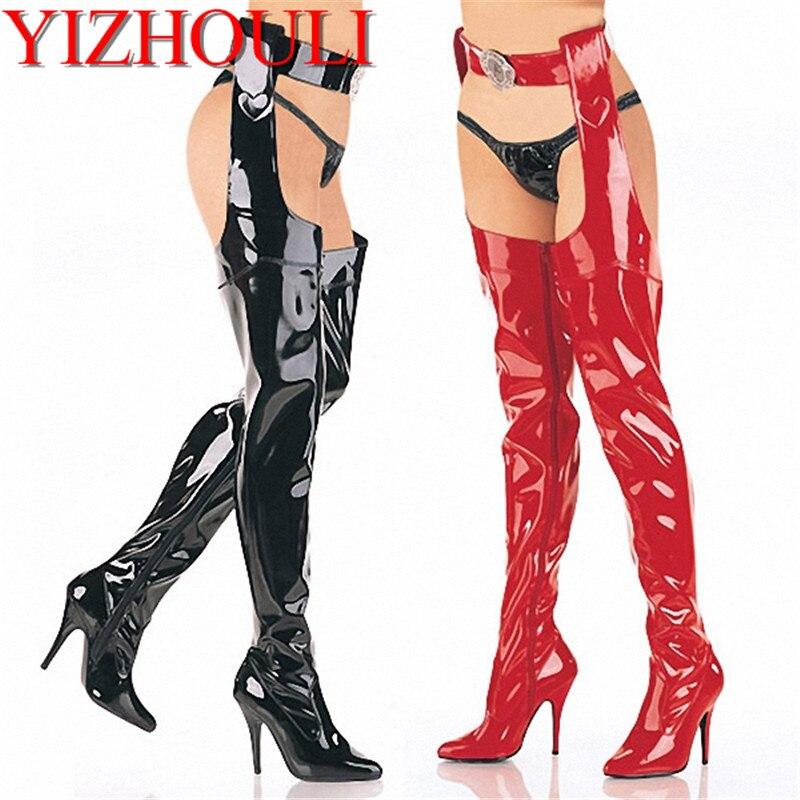 13 cm haute talons femmes bottes avec performance discothèque sexy over-the-genou bottes modèle props bottes haute avec Martin bottes