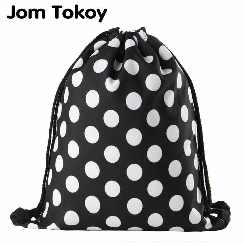 4cbb5a494 Jomtokoy Black and white dots Drawstring Bag 3D Printed Cute Girls School Drawstring  Backpack