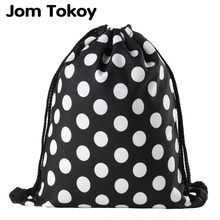 Jomtokoy Black and white dots Drawstring Bag 3D Printed Cute Girls School Drawstring Backpack(China)