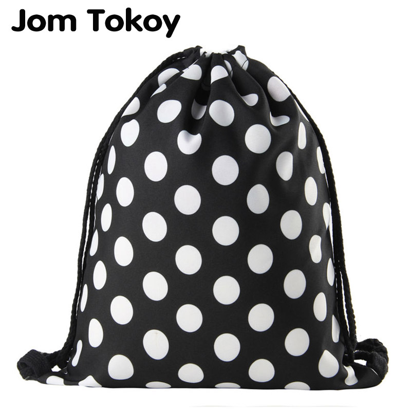 Jomtokoy Black And White Dots Drawstring Bag 3D Printed Cute Girls School Drawstring Backpack