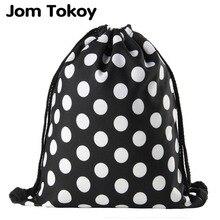 Jomtokoy Black and white dots Drawstring Bag 3D Printed Cute Girls School Drawstring Backpack