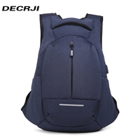 DECRJI 2018 Casual Unisex Backpacks Laptop Backpack Large Capacity School Bags for Teenagers Boys Girls Male USB Charge Rucksack