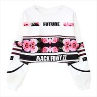 Autumn Women Harajuku Roses Letter Printing Loose Short Crop Sweatshirt Hoodies Long Sleeve Short Tops Women