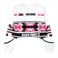 Autumn Women Harajuku Roses Letter Printing Loose Short Crop Sweatshirt Hoodies Long Sleeve Short Tops Women