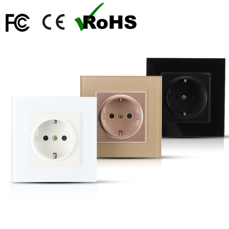 New arrival three colors optional EU standard power socket tempered glass panel wall Outlet wall socket 16A AC110-250V free ship 250v 16a eu de standard distribution box guide rail socket modular socket power outlet 2p e free shipping frcap7