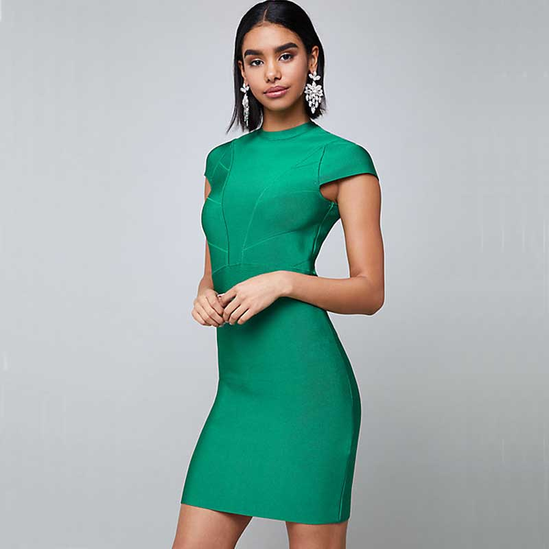 wholesale 2019 New dress green Stretch knit fashion product Celebrity elegance celebrity party bandage dress H2268