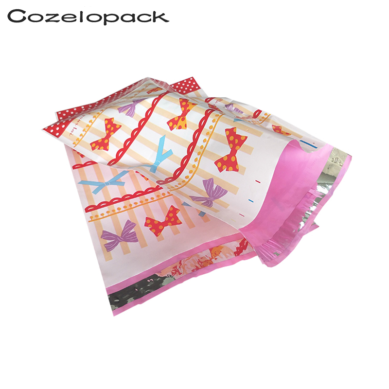 100PCS 6x9inch Poly Mailer 15x23cm Bowknot Pattern Poly Mailer Self Seal Envelopes
