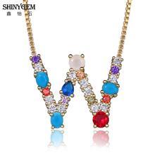 ShinyGem Rainbow 26 Letter Necklace Bohemian CZ Crystal Stone Personalize Golden A-Z Pendant Necklaces For Women