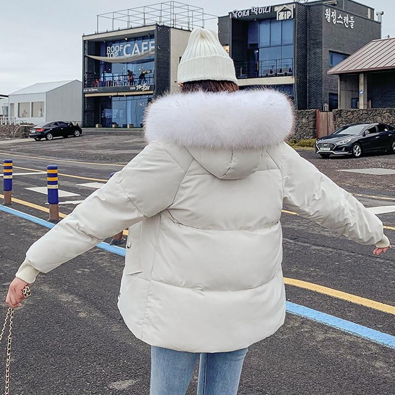 2019 Fashion Winter Parkas Mujer Warm Thicken Cotton Padded Winter Jacket Women Short Coat Fur Collar Hooded Short Parka Female