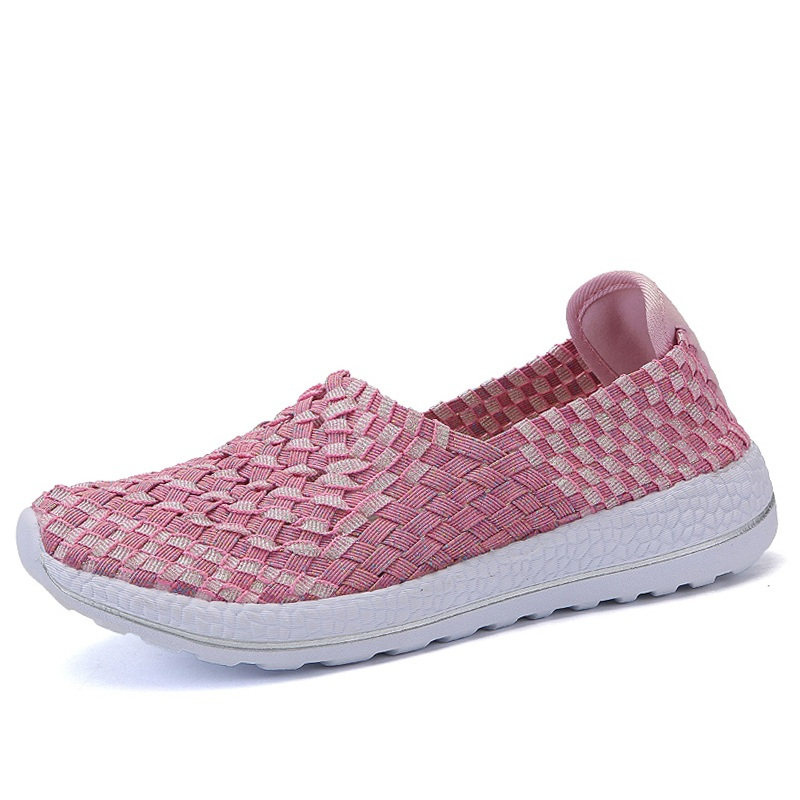WDZKN 2018 Fashion Woven Women Casual Shoes Lightweight Breathable Slip On Flat Shoes Mixed Color Summer Loafers Women Sneakers