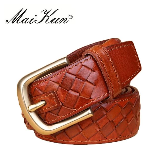 Punto trenzado cinturones para las mujeres del estilo del vaquero cinturones de alta calidad cinturones de cuero genuino para el vestido y los pantalones vaqueros