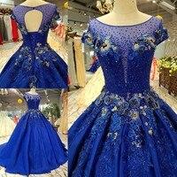 Королевский Синий Атлас Свадебные платья 2018 Элегантный Лодка шеи 3D цветы на шнуровке Саудовской Аравии свадебное платье принцессы