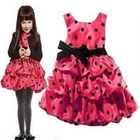 Pink Polka Dot Girl S Dress Bowties One Piece Dress Children S Dresses Sleeveless Dress LFF