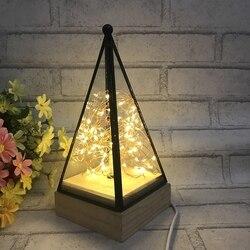 Luz conduzida da noite lâmpada de assoalho de madeira triângulo torre vidro candeeiro mesa quarto luzes da sala estar decoração para casa luminárias iluminação