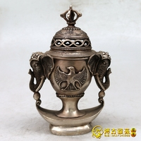 Distinctive Old Qing Dynasty Tibet silver censer/ incense stove,Carved dragon,Elephant, Free shipping